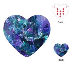 Abstract Ship Water Scape Ocean Playing Cards (Heart)