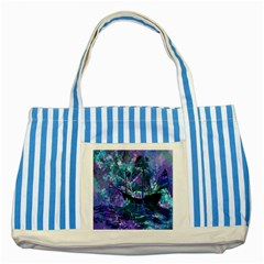 Abstract Ship Water Scape Ocean Striped Blue Tote Bag