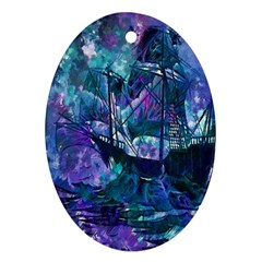 Abstract Ship Water Scape Ocean Oval Ornament (Two Sides)