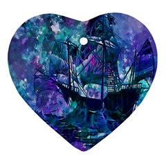 Abstract Ship Water Scape Ocean Heart Ornament (two Sides)