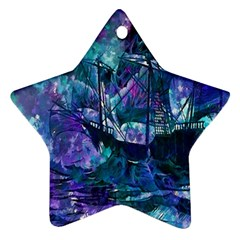 Abstract Ship Water Scape Ocean Star Ornament (Two Sides)