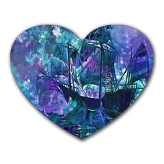 Abstract Ship Water Scape Ocean Heart Mousepads