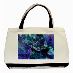 Abstract Ship Water Scape Ocean Basic Tote Bag (Two Sides)