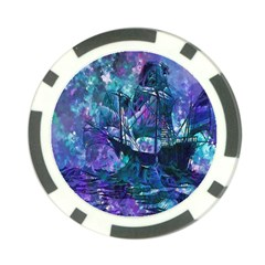 Abstract Ship Water Scape Ocean Poker Chip Card Guard