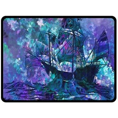 Abstract Ship Water Scape Ocean Fleece Blanket (Large)