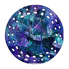 Abstract Ship Water Scape Ocean Ornament (Round Filigree)