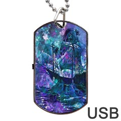 Abstract Ship Water Scape Ocean Dog Tag USB Flash (Two Sides)