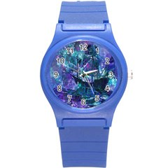 Abstract Ship Water Scape Ocean Round Plastic Sport Watch (S)