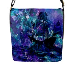 Abstract Ship Water Scape Ocean Flap Messenger Bag (l)
