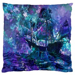 Abstract Ship Water Scape Ocean Large Flano Cushion Case (one Side)