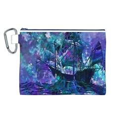 Abstract Ship Water Scape Ocean Canvas Cosmetic Bag (l)