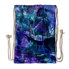 Abstract Ship Water Scape Ocean Drawstring Bag (Large)