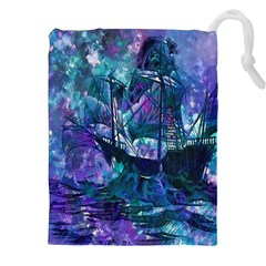 Abstract Ship Water Scape Ocean Drawstring Pouches (XXL)