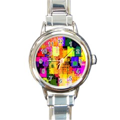 Abstract Squares Background Pattern Round Italian Charm Watch