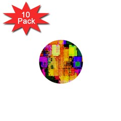 Abstract Squares Background Pattern 1  Mini Buttons (10 pack)