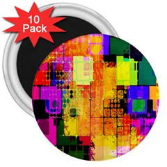 Abstract Squares Background Pattern 3  Magnets (10 pack)