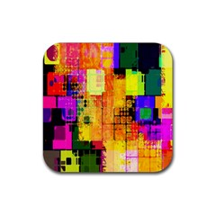 Abstract Squares Background Pattern Rubber Square Coaster (4 pack)