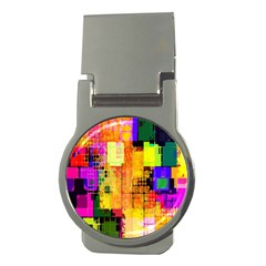 Abstract Squares Background Pattern Money Clips (Round)