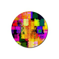 Abstract Squares Background Pattern Rubber Coaster (Round)