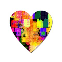 Abstract Squares Background Pattern Heart Magnet