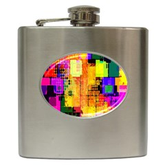 Abstract Squares Background Pattern Hip Flask (6 oz)