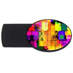Abstract Squares Background Pattern USB Flash Drive Oval (2 GB)