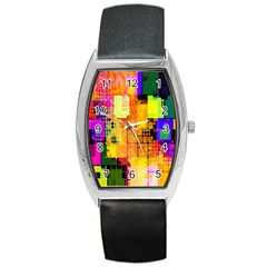 Abstract Squares Background Pattern Barrel Style Metal Watch