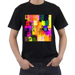 Abstract Squares Background Pattern Men s T-Shirt (Black) (Two Sided)