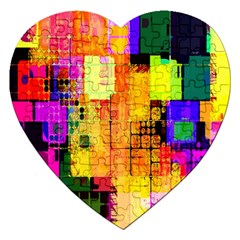 Abstract Squares Background Pattern Jigsaw Puzzle (Heart)