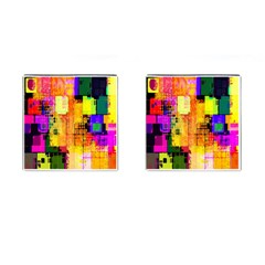 Abstract Squares Background Pattern Cufflinks (Square)