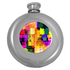 Abstract Squares Background Pattern Round Hip Flask (5 oz)