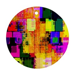 Abstract Squares Background Pattern Round Ornament (Two Sides)