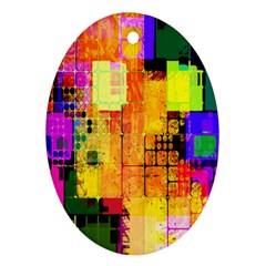 Abstract Squares Background Pattern Oval Ornament (Two Sides)