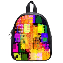 Abstract Squares Background Pattern School Bags (Small)
