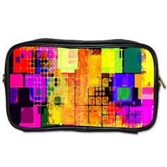 Abstract Squares Background Pattern Toiletries Bags