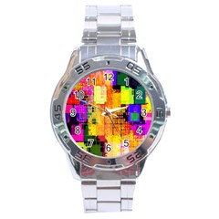 Abstract Squares Background Pattern Stainless Steel Analogue Watch