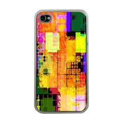 Abstract Squares Background Pattern Apple iPhone 4 Case (Clear)