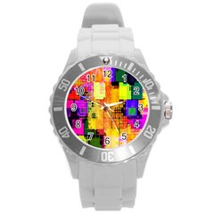 Abstract Squares Background Pattern Round Plastic Sport Watch (L)