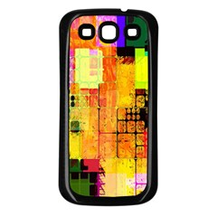Abstract Squares Background Pattern Samsung Galaxy S3 Back Case (Black)
