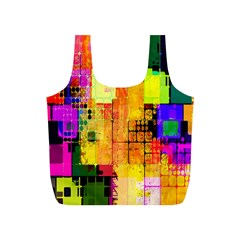 Abstract Squares Background Pattern Full Print Recycle Bags (S)