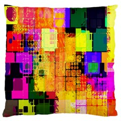 Abstract Squares Background Pattern Large Flano Cushion Case (Two Sides)