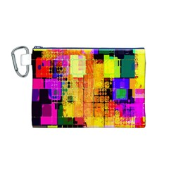 Abstract Squares Background Pattern Canvas Cosmetic Bag (M)