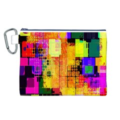 Abstract Squares Background Pattern Canvas Cosmetic Bag (L)