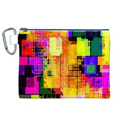 Abstract Squares Background Pattern Canvas Cosmetic Bag (XL)