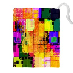 Abstract Squares Background Pattern Drawstring Pouches (XXL)