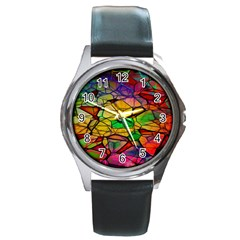 Abstract Squares Triangle Polygon Round Metal Watch