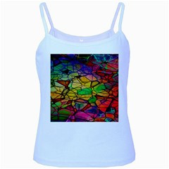 Abstract Squares Triangle Polygon Baby Blue Spaghetti Tank