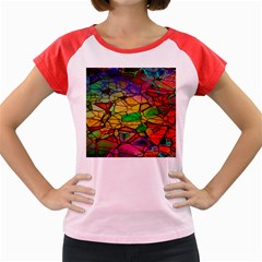 Abstract Squares Triangle Polygon Women s Cap Sleeve T-Shirt