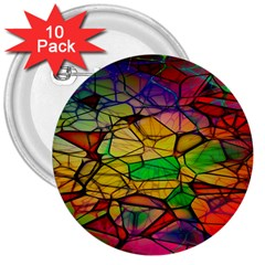 Abstract Squares Triangle Polygon 3  Buttons (10 pack)