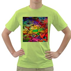 Abstract Squares Triangle Polygon Green T Shirt
